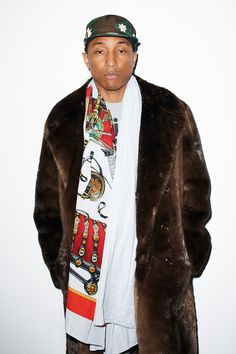 Pharrell Williams / Fur coat by Tom Ford / Photo by Terry Richardson / GQ magazine