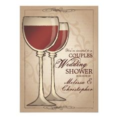 Elegant Wine Themed Couples Wedding Shower Personalized Invitations