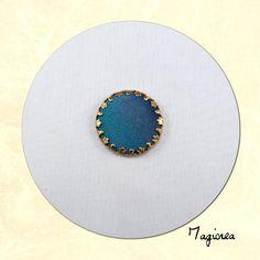 cabochon de soie rond bleu  2 cm C041