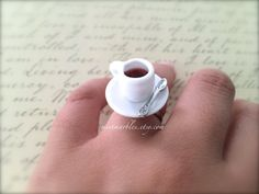 Coffee Mug Ring. Adjustable Silver Ring. by MintMarbles on Etsy