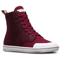 Dr. Martens Canvas Hackney II Ankle Boots ($72) ❤ liked on Polyvore featuring shoes, boots, ankle booties, wine, canvas booties, shearling-lined boots, canvas ankle boots, wine boots and slip resistant boots