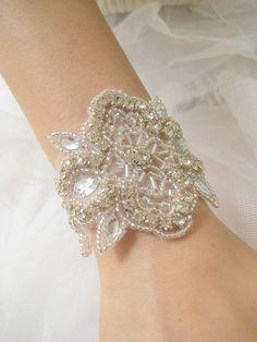 handmade wedding rhinestones bead appliques bracelets | Bridal beaded elegant crystal rhinestone wedding bracelet French Deco