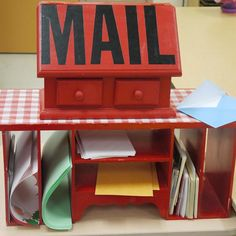 Classroom Mailbox - great way to get kids excited about writing! Send and receive letters from other classrooms, students, school community members. Wonderful way to explore concepts of print, stage authentic read alouds, practice/model writing conventions and promote positive school community!