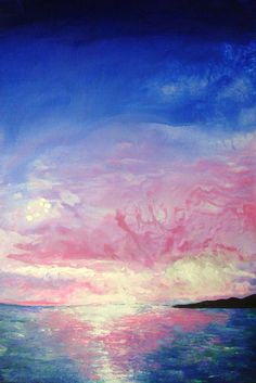 Seascape Ocean Sunset Blue Pink Painting Acrylic #art #painting @EtsyMktgTool #acryliclandscape #oceanpainting #sunset #abstractpainting