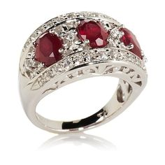 Victoria Wieck Ruby and White Topaz 3-Stone Ring