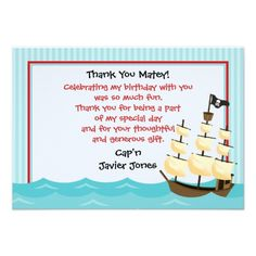 59 best thank you invitations wording images on pinterest a life pirate ship thank you cards personalized announcements stopboris Gallery
