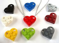 Love Heart Friendship Necklaces x 2 - Set of Two Necklaces to make One Heart - Handmade using LEGO(r) bricks