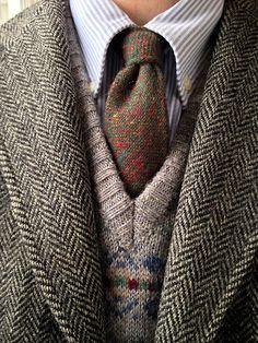 Vintage 3/2 J. Press Harris Tweed jacket, Brooks Brothers blue university stripe OCBD, vintage Lands' End Shetland wool Fair Isle sweater vest (Scotland), Craigmill wool tie (Scotland).