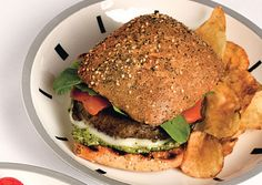 Portobello Burgers with Pesto, Provolone, and Roasted Peppers  This quick vegetarian main course uses meaty portobello mushrooms instead of actual beef. Later in the summer, you can use eggplant in place of the portobellos.