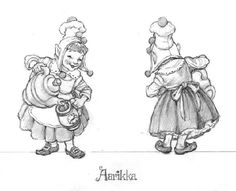 "HOLIDAY/SANTA Drawings            Santa's Elves - for Figurines - This series of drawings were done as figurine designs for The GreenwichWorkshop Collection of ""Santa and his Elves.""    All of these drawings were done in graphite on layout bond, page size: 12"" x 9.""  - Aarikka the Elf (above)"