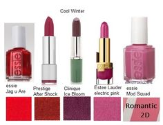Cool Winter aka True Winter, Absolute Winter, Snowfrost Winter ~ Mindful of our Makeup Cool Winter Color Palette, Deep Winter Colors, Essie, Winter Lipstick, Clear Winter, Dark Winter, Seasonal Color Analysis, Cool Skin Tone, Color Me Beautiful