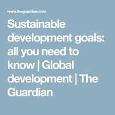 Sustainable development goals: all you need to know   Global development   The Guardian