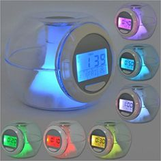 Amazon.com: Fashion Alarm Clock with 5 Natural Sound 7 Color Changing LED Light digital LCD Screen Children's Shower Thermometer Timer Music Alarm Clock: Home & Kitchen