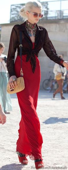 Black and Red outfit and a great pair of heels. Topped off with an fab necklace.... - Street Style And Fashion Ideas