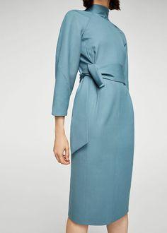 Weniana sukienka ozdobny węzeł | MANGO