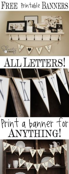 Free Printable Whole Alphabet Banner - Shanty 2 Chic Fun easy printable banner letters! Super easy to make a banner and put burlap or cute colored paper behind it! Arts And Crafts, Paper Crafts, Diy Crafts, Wood Crafts, Do It Yourself Inspiration, Shanty 2 Chic, Home And Deco, Crafty Craft, My New Room