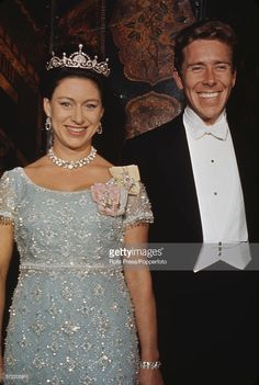 Princess Margaret, Countess of Snowdon (1930-2002) pictured wearing a tiara and ornate necklace with her husband <a gi-track='captionPersonalityLinkClicked' href='/galleries/personality/93083' ng-click='$event.stopPropagation()'>Antony Armstrong-Jones</a>, 1st Earl of Snowdon at an official royal engagement in 1966..