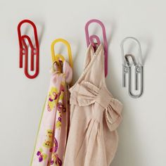 Dress-Up Area: Keep it Together Wall Hook lets you show off your great dress-up items.  Two hanging levels for easier clean-up when dress-up time is done.  Use a floor bin underneath for non-hanging items.  Pair these with a mirror for your little characters to admire themselves.