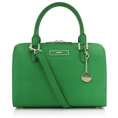 Love the bag and pop of color. DKNY Saffiano Bowling Bag ($345) found on Polyvore