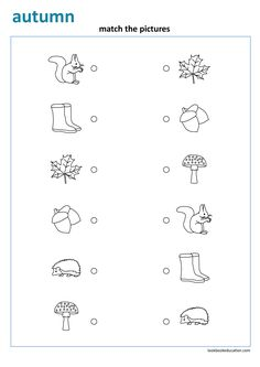 Match the pictures. View more preschool, kindergarten, first grade worksheets: lookbookeducation.com Coloring Worksheets For Kindergarten, First Grade Worksheets, Community Helpers Worksheets, High School Teen, Autumn Animals, Sunday School Classroom, School Tool, Leaf Crafts, Free Printable Worksheets