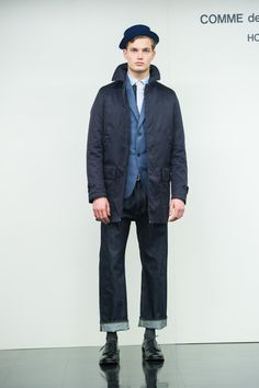 Comme des Garcons Homme AW14, mac and cropped denim! Bucket hat is a must!