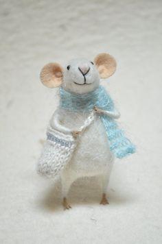 Little Traveler Mouse unique  needle felted by feltingdreams, $58.00