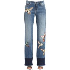 Red Valentino Women Bird Batches Cotton Denim Jeans ($1,040) ❤ liked on Polyvore featuring jeans, blue, dark wash jeans, button-fly jeans, blue jeans, red valentino jeans and red valentino