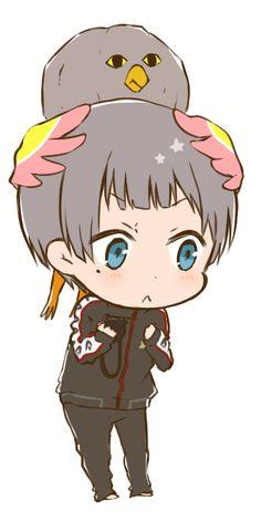 "Free! ~~ Aiichiro with Iwatobi perched on his head... rather like Dera from ""Tamako Market"""