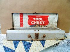 American Tool Chest- Metal Toy Tool Box- American Toy and Furniture Company- Well Used- Vintage Junior Carpenter Tool Chest- Rusty Treasure by OrphanedTreasure on Etsy