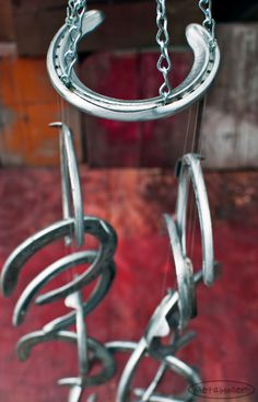 Recycled Race Horseshoe Wind Chime. Aluminum. Horse Racing. on Etsy, $50.00