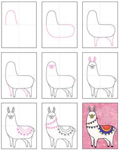 """If you learn how to draw a Llama before Valentine's Day, you can make lots of """"I Llove You"""" cards that will be sure to charm anyone. Drawing Lessons For Kids, Art Drawings For Kids, Easy Drawings, Art Lessons, Art For Kids, Drawing Ideas Kids, Learning To Draw For Kids, Drawing Tutorials For Kids, Llama Drawing"""