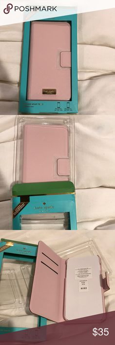 🔴 Kate Spade leather pink iPhone 6 Plus  6S case 🔴NWT IN BOX KATE SPADE ALL LEATHER PALE PINK WALLET PHONE CASE WITH 2 slots for credit cards and a magnetic closure. I use one and love it. Paid 70$ for it! I want all my buyers to be totally happy. 😊😊 kate spade Accessories
