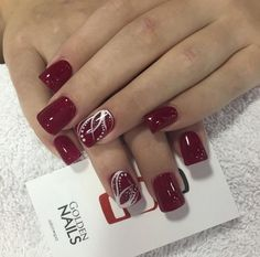 Homecoming Dance Nail Art Designs Maroon Nails With White Accents Homecoming Nails, Prom Nails, Wedding Nails, Homecoming Dance, Homecoming Ideas, Cute Nails, Pretty Nails, My Nails, Maroon Nail Designs