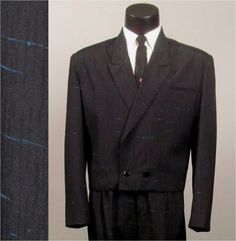 Vintage Mens Suit 1980s NEW WAVE Rocker Black with Electric Blue Flecks Short Waisted Baggy Pant 2 Two Piece Suit.
