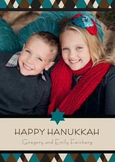 Add your favorite family photo to this contemporary Hanukkah design.