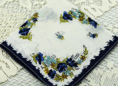 Vintage Hankie, Blues and White, Floral Hankie, Sewing, Quilting, Framing, Bow Making #A46