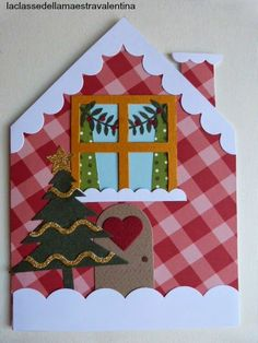 Care creative, oggi vi faccio vedere cosa ho creato con una bellissima fustella comprata nella recente fiera... non vi nascondo che ho ... Christmas Crafts For Kids To Make, Christmas Card Crafts, Xmas Cards, Christmas Art, Christmas Themes, Gingerbread Crafts, Diy Cadeau, Christmas Makes, Origami