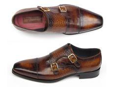 PAUL PARKMAN ® The Art of Handcrafted Men's Footwear - Paul Parkman Men's Brown Crocodile Embossed Double Monkstrap