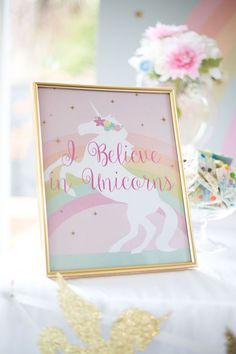 Unicorn party print from a Floral Rainbow Glam Unicorn Birthday Party on Kara's Party Ideas | KarasPartyIdeas.com (4)