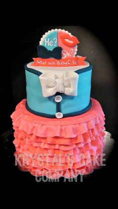 Gender reveal cake...how cute and hahahaha check out the name of the bakery it's my name and its even spelled the same!!!! :) KBR