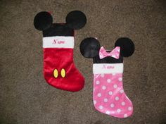 Personalized Disney Mickey and Minnie Mouse Christmas Holiday Stocking Set