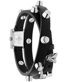 3ad76724e2f8 Gucci Women s Swiss G Frame Black Studded Leather Double Wrap Strap Watch  14x18mm YA128520 - Black
