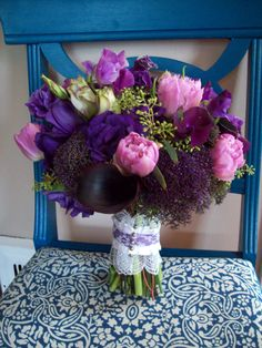 Purple wedding flowers - maybe add some more bright green to the bouquet?