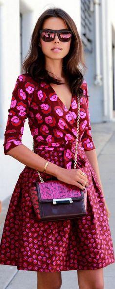 Street Style Pink Print Dress