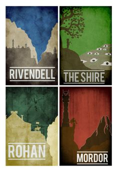 All 4 Lord of the Rings Location prints movie posters minimalist poster mordor the shire rivendell rohan      This print was created using