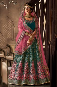 The Stylish And Elegant Lehenga Choli In Teal Colour Looks Stunning And Gorgeous With Trendy And Fashionable Embroidery,Zari Work,Stone Work,Lace Work . The Velvet Fabric Wedding Wear Lehenga Choli Lo. Indian Bridal Outfits, Indian Bridal Lehenga, Indian Bridal Fashion, Indian Bridal Wear, Lehenga Wedding, Pakistani Bridal, Indian Wear, Lehenga Designs, Sari