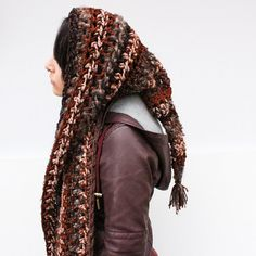 Hood Scarf Wool boho crochet elfin gypsy brown black by HookedWear, $52.00