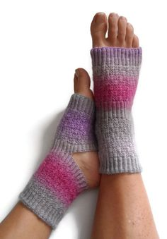 Toeless Yoga Socks Hand Knit in Regency Pedicure Pilates Dance    These cozy, toe-less, heel-less socks are perfect to wear to a yoga, dance, or pilates class to keep warm and prevent slipping, or even to wear to a pedicure during those cold winter months! You can even throw on some flip-flops and wear them out on a lazy summer morning. They are knitted with a 70% superwash wool/30% Nylon blend. These should be hand washed and dried flat. The color is called regency and consists of shade...