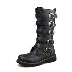 Ms064 na altura do joelho PU botas masculinas novo estilo com 5 fivela com zip fácil de usar da motocicleta botas homem