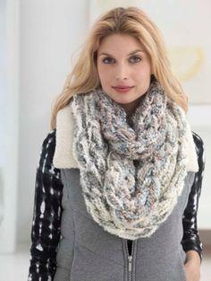 Lush Plush Arm Knit Cowl in Lion Brand Homespun Thick & Quick - Digital Version | Lion Brand Free Knitting Patterns | Knitting Patterns | Deramores